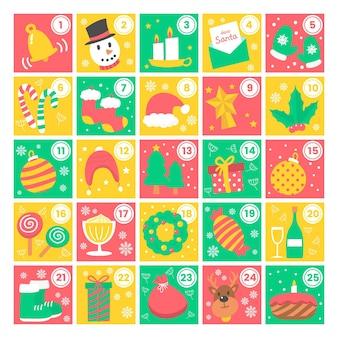 Beau calendrier de l'avent coloré