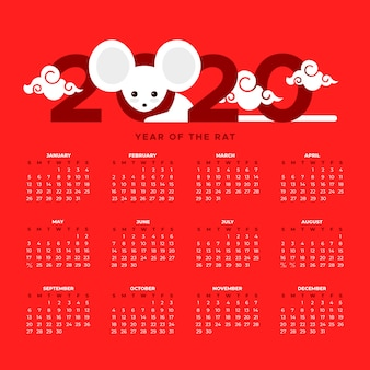 Beau calendrier du nouvel an chinois au design plat