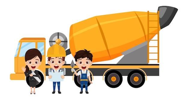 Beau camion malaxeur à béton avec une équipe de travailleurs de la construction heureux et mignon enfant intelligent avec des personnages d'ingénieurs