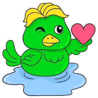 Beau canard mâle est amoureux, art d'illustration vectorielle. doodle icône image kawaii.