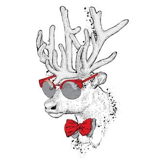 Beau cerf hipster dans des vêtements élégants