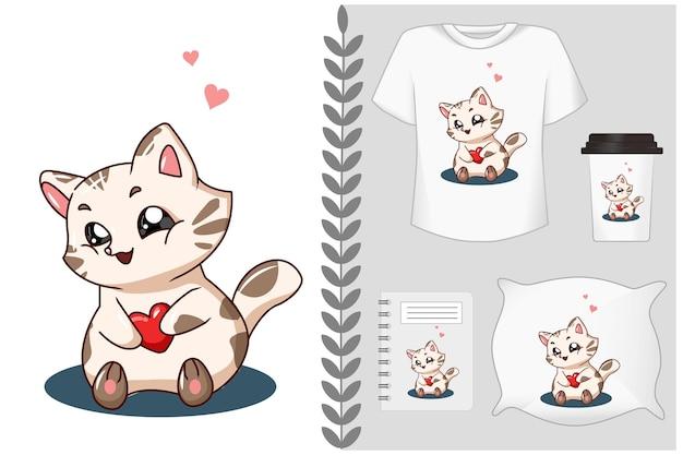 Beau chat avec amour
