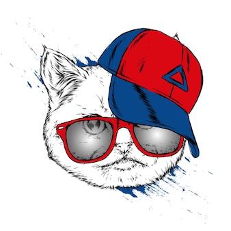 Beau chat dans un bonnet et des lunettes