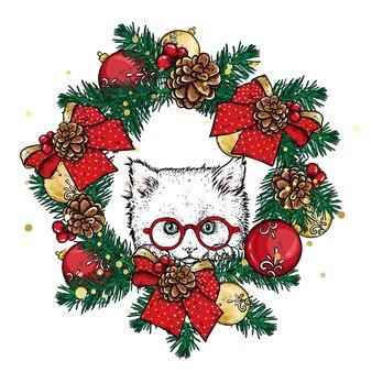 Beau chat avec des décorations et des vêtements de noël