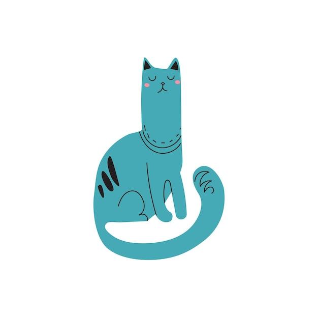 Un beau chat fier dessiné à la main