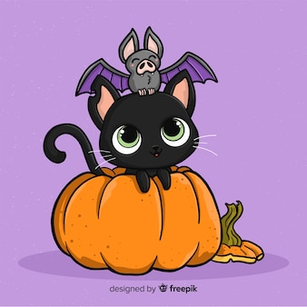 Beau chat d'halloween dessiné à la main