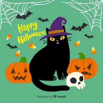 Beau chat d'halloween dessiné à la main