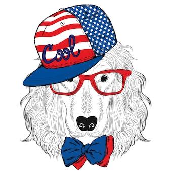 Beau chien dans un bonnet et des lunettes