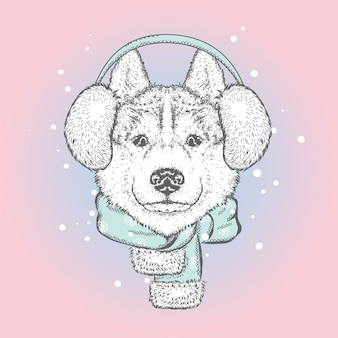 Beau chien dans un casque d'hiver et une écharpe. nouvel an, illustration vectorielle.