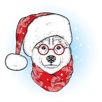 Beau chien dans un chapeau et une écharpe de noël. nouvel an, illustration vectorielle.