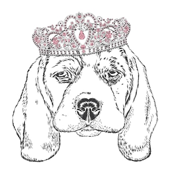 Beau chien hipster en couronne