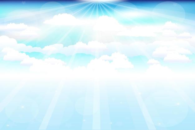Beau ciel bleu avec des nuages, des poutres