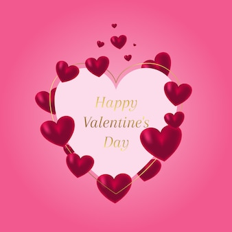 Beau coeur avec des coeurs rouges pour la saint valentin