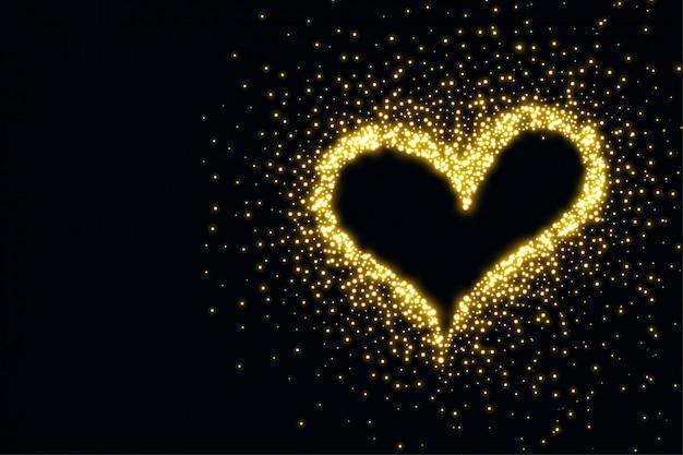 Beau coeur fait avec un fond d'étincelles