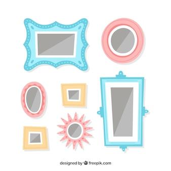 Beau collage de cadre photo avec un design plat