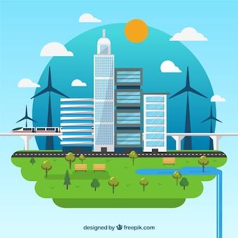 Beau concept d'écosystème avec un design plat
