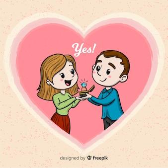 Beau concept de proposition de mariage dessiné à la main