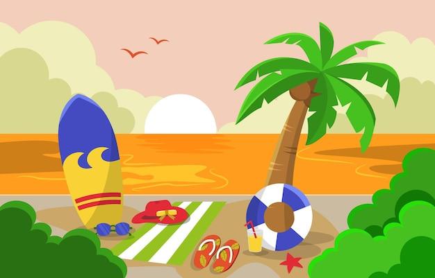 Beau coucher soleil été plage mer nature vacances illustration