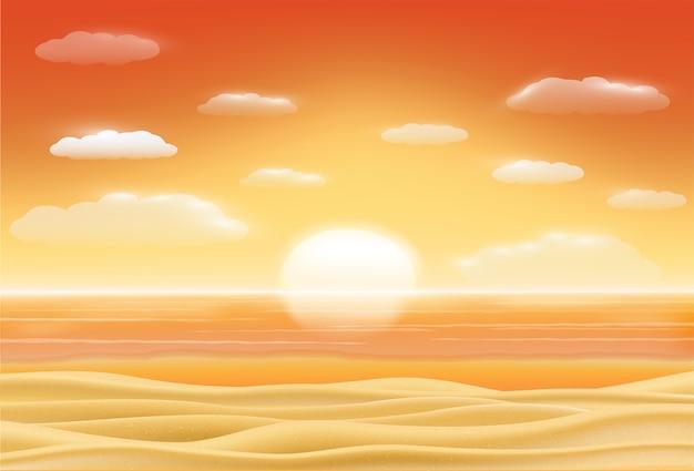 Beau coucher de soleil mer plage sable scène vecteur