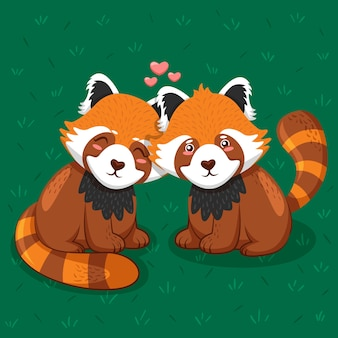 Beau couple d'animaux saint valentin