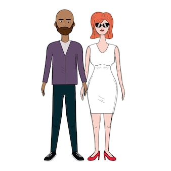 Beau couple avec coiffure et vêtements élégants