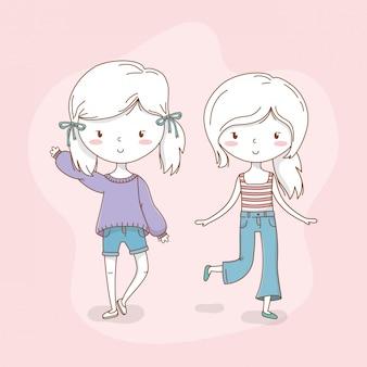 Beau couple de filles avec des couleurs pastel