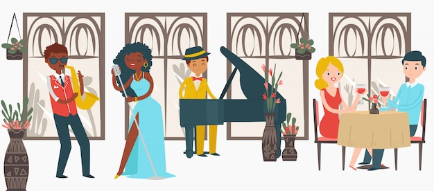 Beau couple homme femme restaurant date jazz, paire d'amant de caractère écoute de la musique sur blanc, illustration.