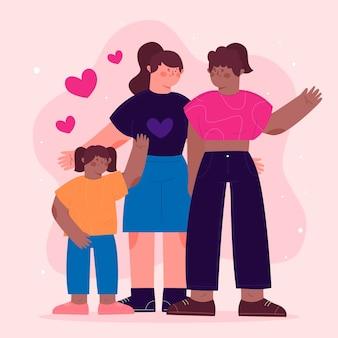 Beau couple de lesbiennes avec un enfant illustré