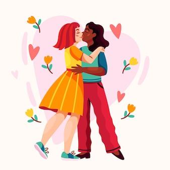 Beau couple de lesbiennes s'embrassant