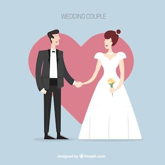 Beau couple de mariage avec fond de coeur