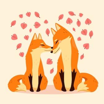Beau couple de renards saint valentin