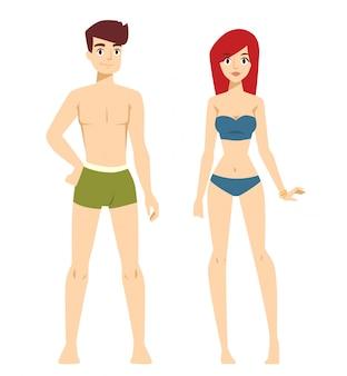 Beau couple vecteur mode dessin animé nu sans modèles de vêtements regarde debout