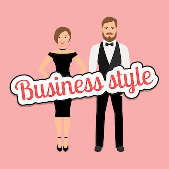 Beau couple en vêtements de style business