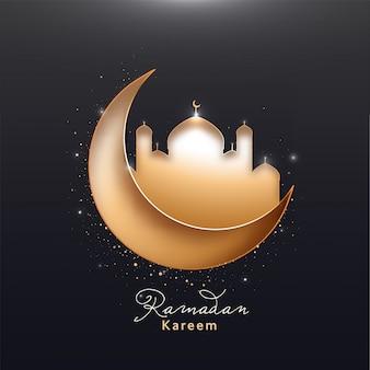 Beau croissant de lune et mosquée sur fond noir. mois sacré islamique de