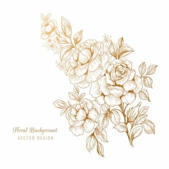 Beau croquis floral doré décoratif
