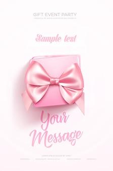 Beau dépliant ou affiche de voeux de saint valentin vue de dessus sur une boîte cadeau rose et un arc rose