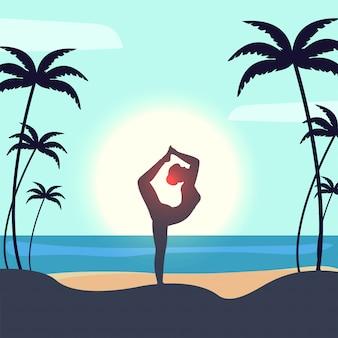 Beau design affiche ou bannière avec la silhouette d'une femme faisant du yoga