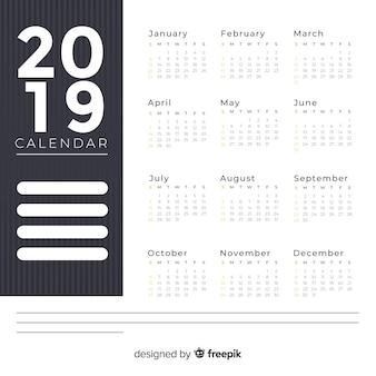 Beau design de calendrier 2019