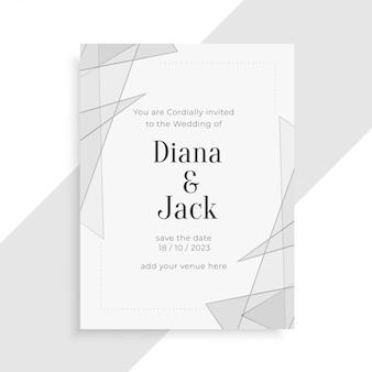 Beau design de carte d'invitation de mariage géométrique élégant