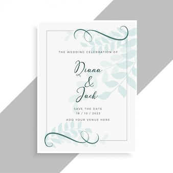 Beau design de carte de mariage avec motif de feuilles