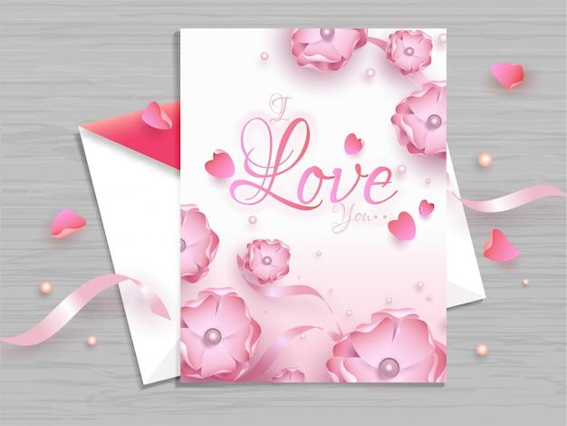Beau design floral décoré de cartes de voeux pour la saint-valentin