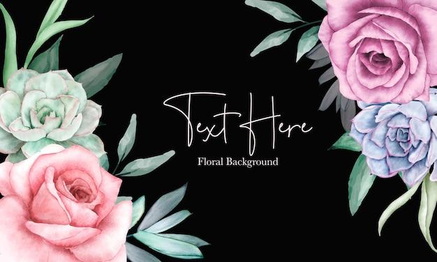 Beau design de fond floral avec ornement floral aquarelle