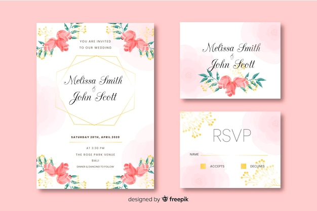 Beau design d'invitation carte de mariage