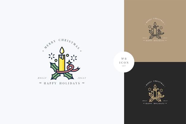 Beau design linéaire de concept joyeux noël avec bougie de noël. compositions de typographie de voeux