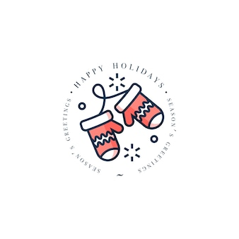 Beau design linéaire de concept joyeux noël avec des gants de noël.