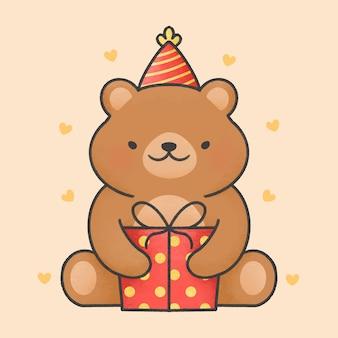 Beau dessin animé ours et boîte-cadeau