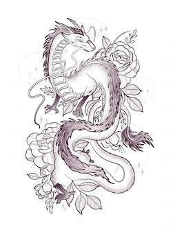 Beau dragon parmi les grandes roses