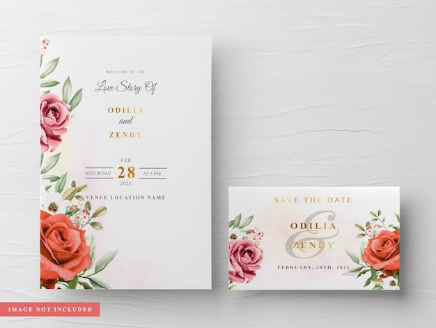 Beau et élégant modèle de carte d'invitation de mariage aquarelle floral