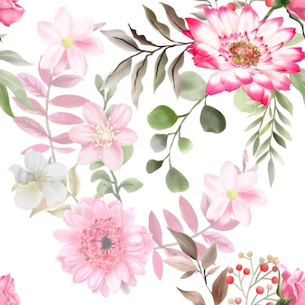 Beau et élégant modèle sans couture aquarelle floral