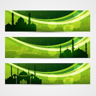 Beau ensemble de bannières ramadan et eid